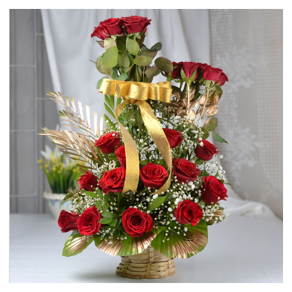 25 Red Roses with Basket