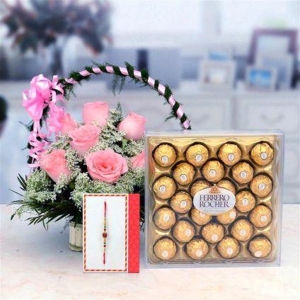 Basket of Pink Roses N Rocher