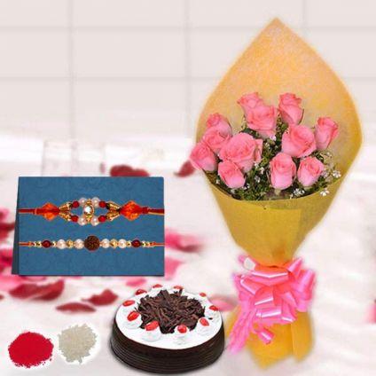 12 pink Roses,1 Black Forest Cake of 500gm