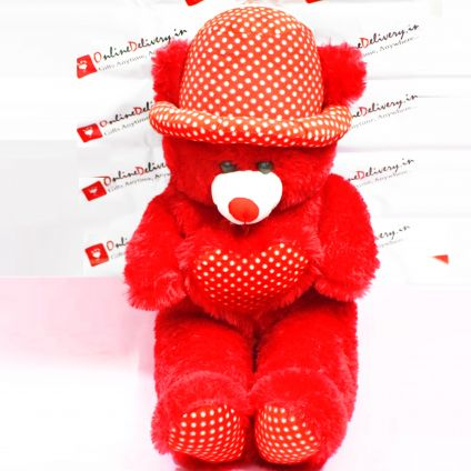 Red Teddy Heart With Cap