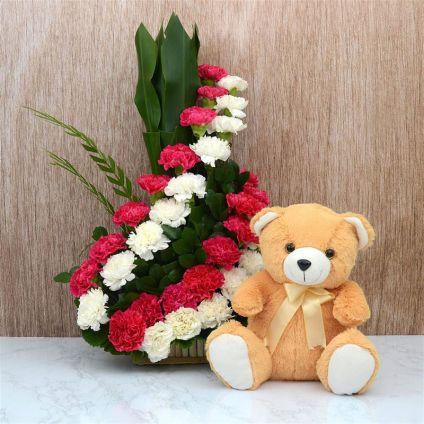 Carnation Basket With Teddy