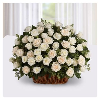 Basket of 30 White roses