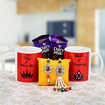 Coffee Mug, lumba Rakhi Set and Chocolates
