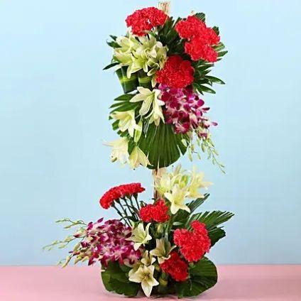 3 feet Tall Purple Orchids Arrangement