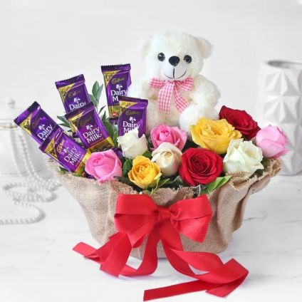 Mixed Roses, chocolates and Teddy