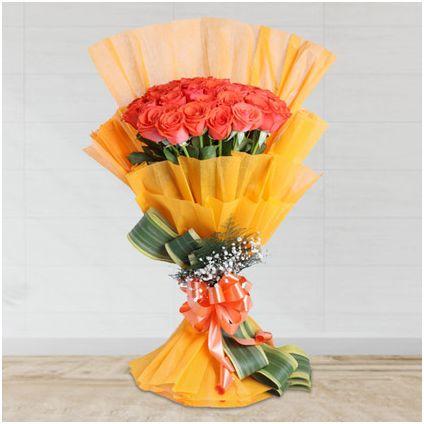bunch of 25 orange roses