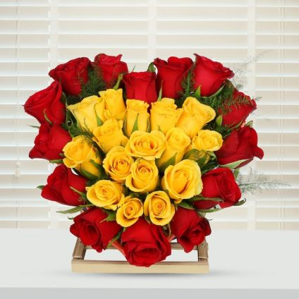 Arrangements Of Red And Yellow Roses