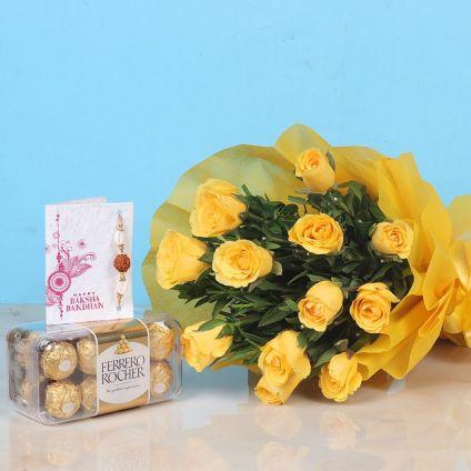 Yellow Roses N Ferrero Rocher Combo