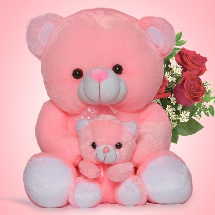 Pink Teddy with Little baby