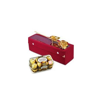 6 Inch Golden Rose with 16 Pcs Ferrero Rocher