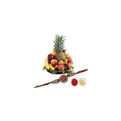 2 Kg Mixed Fruit with Basket and Rakhi