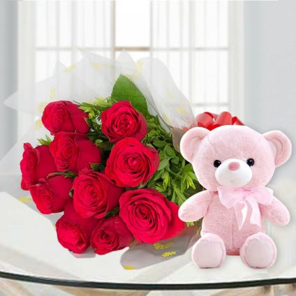 10 Red Roses and 6 inch Teddy bear