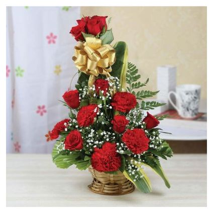 Roses & Carnation With Basket