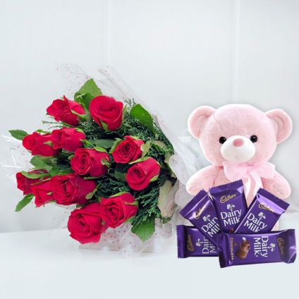 Roses With Teddy and Choco