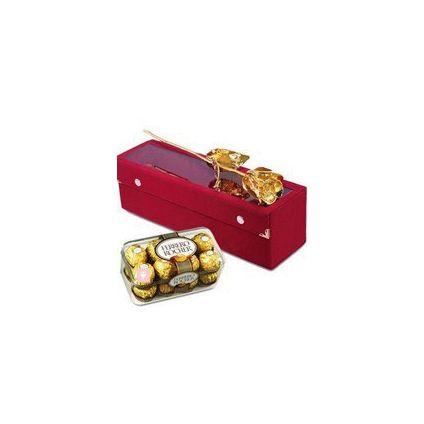 11 Inch Golden Rose with 16 Pcs Ferrero Rocher