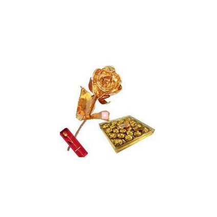 11 Inch Golden Rose with 24 Pcs Ferrero Rocher