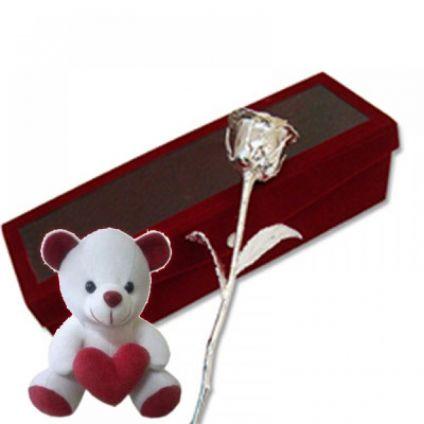 6 Inch silver Rose with 6 Inch Teddy Bear