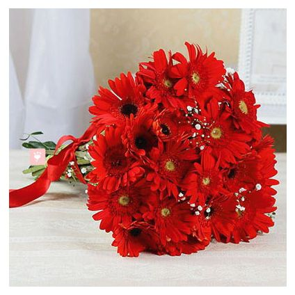 Bunch of 10 Red Gerbera