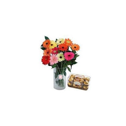 10 mixed Gerbera with Vase and Ferrero Rocher Chocolates