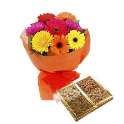 Mixed Gerbera and Dry fruits