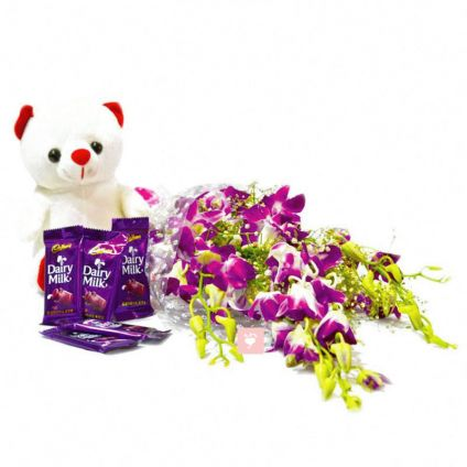 Orchids with choco and teddy