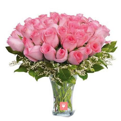 25 Pink Roses with Vase