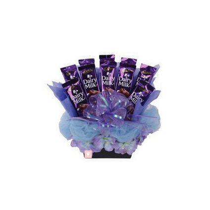 Basket of cadbury Dairymilk Silk