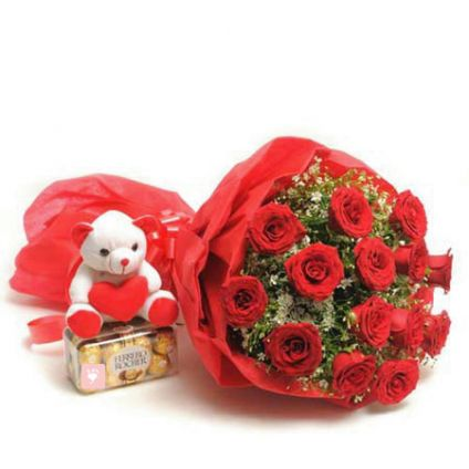 10 Red Roses, 16 pcs Ferrero Rocher and 6 inch Teddy