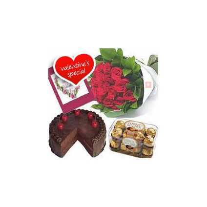 10 Red Roses, 16 pcs Ferrero Rocher and 1/2 Kg Chocolate Cake
