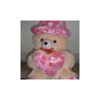 Cute Cap white Teddy bear with little heart