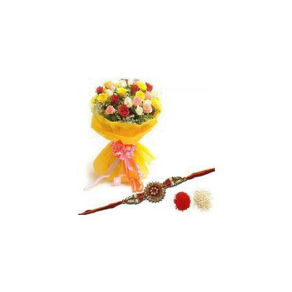 10 mixed Roses with rakhi