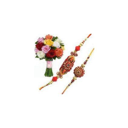 12 mixed flower with 2 rahki