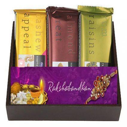 3 Temptation chocolate one Rakhi, one Card