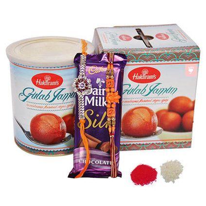 2 Rakhi, Chocolates and Haldiram Gulab Jamun