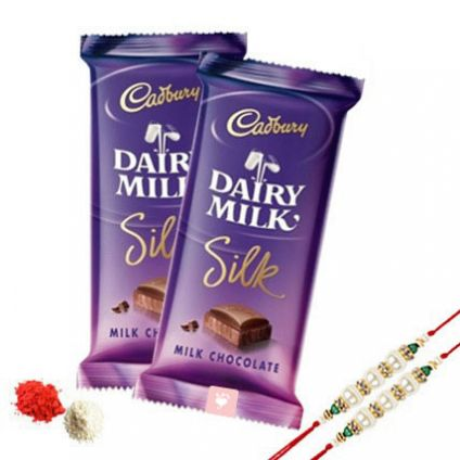 2 Rakhi with 2 Cadbury Dairy Milk Silk