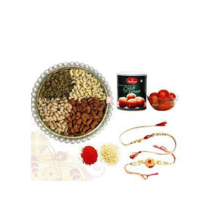 500 Mixed Dry fruits and 1 kg Haldiram Gulab Jamun with 2 Rakhi