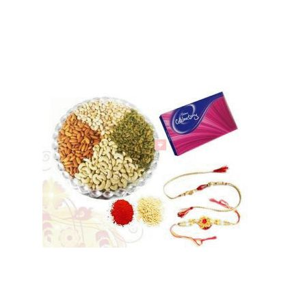 500 Mixed Dry fruits and Cadbury Celebration Pack with 2 Rakhi