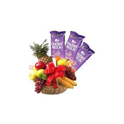 3 Kg Fruits with 3 Dairy Milk Silk