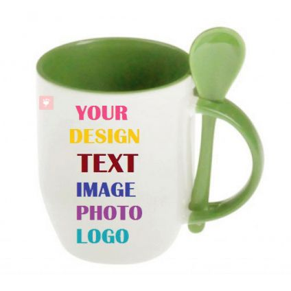 Personalized Light Green Mug with Spoon