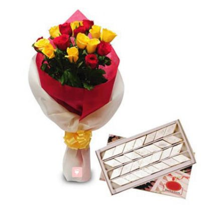 10 Mixed roses and 1/2 kg kaju katli