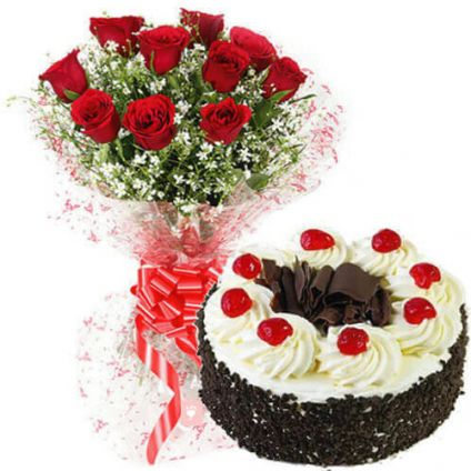 Black Forest Cake With Red Roses