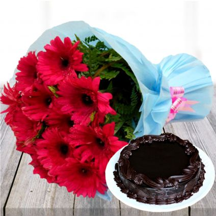Pink Gerbera with Chocolate Cake