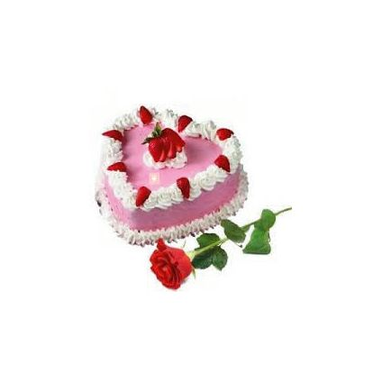 Straw berry Cake with 1 Rose