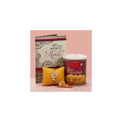 Rakhi greeting card and sweets