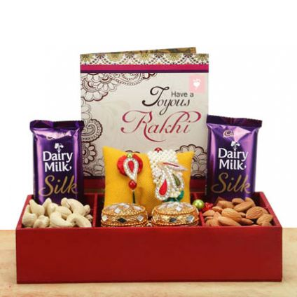 Dry fruits, Chocolates and Greeting card