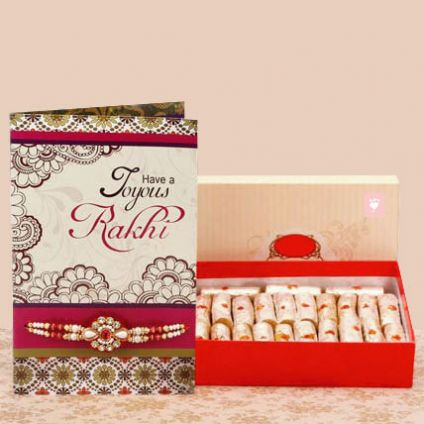 Rakhi with kaju roll, greeting card