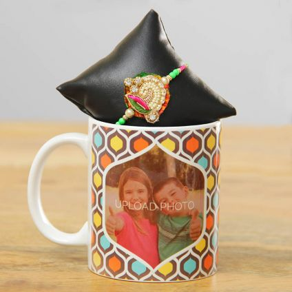 Rakhi with white ceramic mug personalized