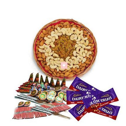 500 gm mixed dry fruits. 4 pcs dairy milk chocolates with Crackers