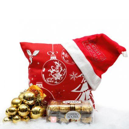 Christmas cushion, Cap, ball and 16 pcs ferrero Rocher