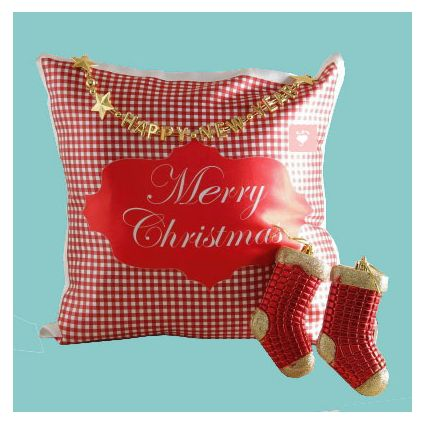 Christmas Pillow With Two Decoration Santa Socks